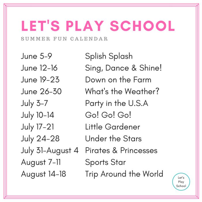 Summer School Calendar