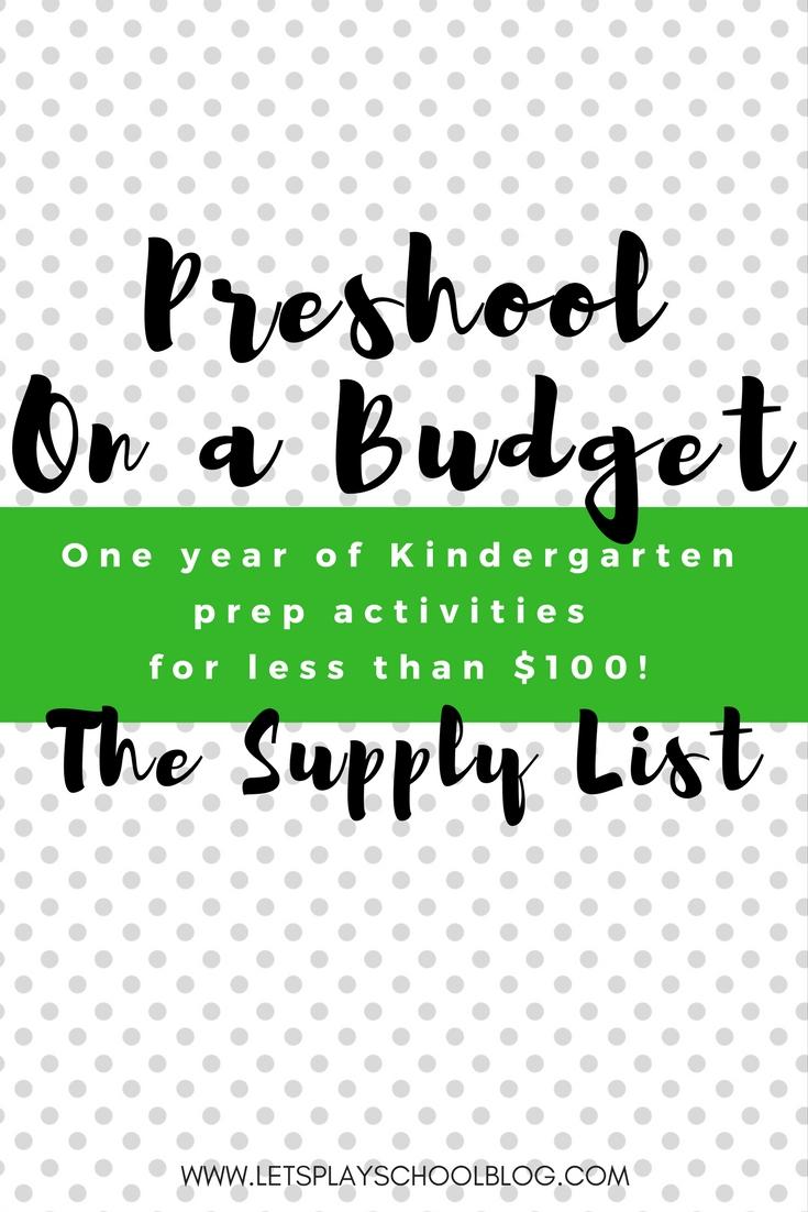 Preshool on a budget